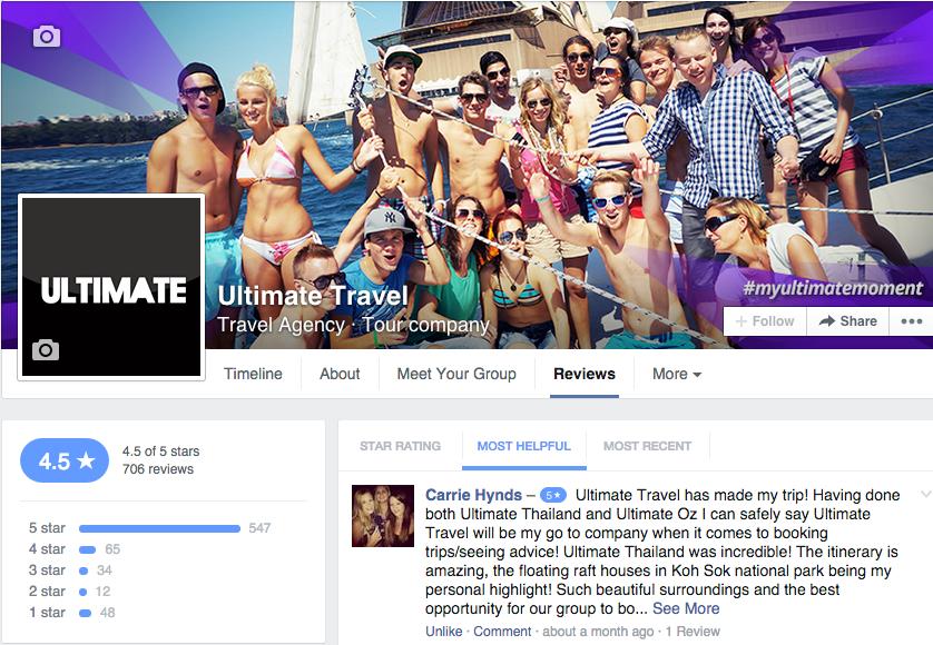 Facebook reviews screen shot
